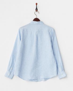 ブルー  フレンチリネン2WAYボタンシャツ見る