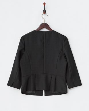 ブラック  格子織り柄ノーカラー7分袖ジャケット見る