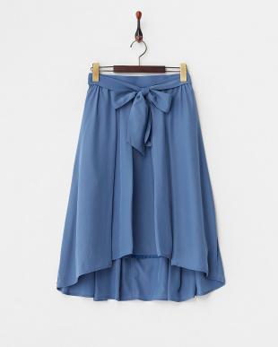 ブルー  フロントリボンバックテールスカート見る