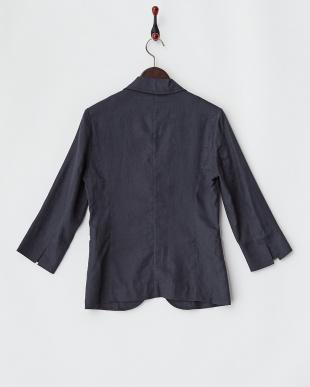 ネイビー  FRENCH LINEN7分袖1Bジャケット見る
