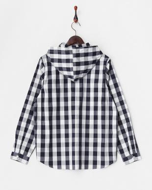 NVY  ブロックチェックPOフードシャツ WH見る
