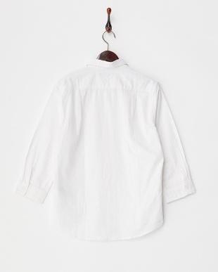 OFF 綿麻ホリゾンタルカラー7分袖シャツ WH見る