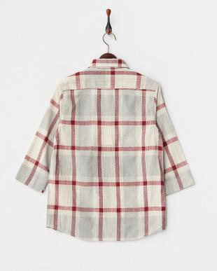 BEG/BRD 2ポケチェック七分袖シャツ WH見る