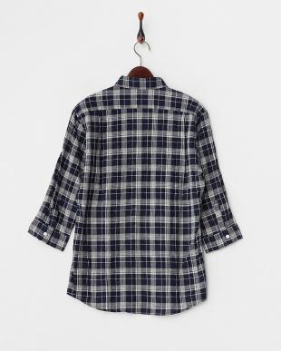 NVY/OFF  綿麻トップチェックシャツ WH見る