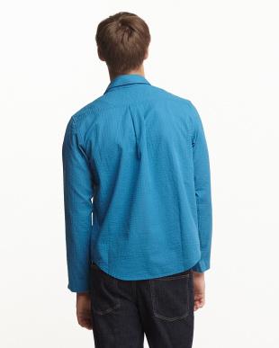BLU  ストライプ織スキッパーシャツ WH見る