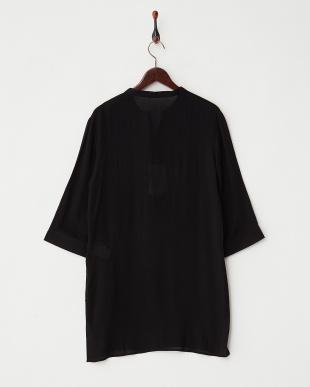 ブラック  楊柳ノーカラーロングシャツ WH見る