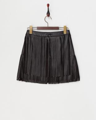 ブラック JALIZ DELUXE レザーフリンジスカート見る