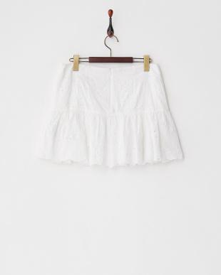 ホワイト  JAMES VINカットワーク刺繍スカート見る