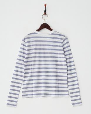 ホワイト×ブルー  WILLY STRIPES LUREX 長袖Tシャツ見る