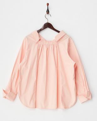 ピンク  コットンオフショルシャツ見る