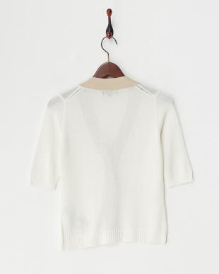 ホワイト  フラワー刺繍入り配色半袖カーディガン見る