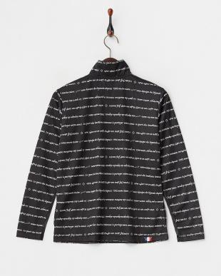 ブラック 吸汗速乾/UVカット/接触冷感/消臭テープ ロゴボーダープリント長袖ハーフジップシャツ見る