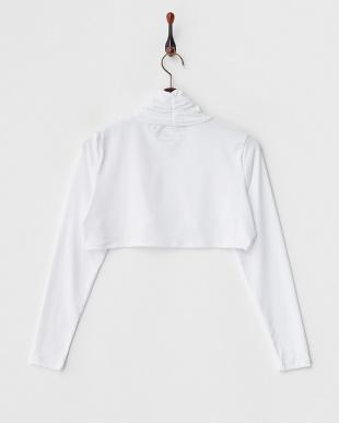 ホワイト 吸汗速乾/UVカット/消臭糸 ショート丈ハイネック長袖インナーシャツ見る
