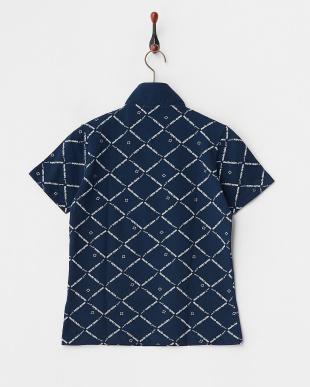 ネイビー 吸汗速乾/UVカット チェック柄ハーフジップ半袖シャツ見る