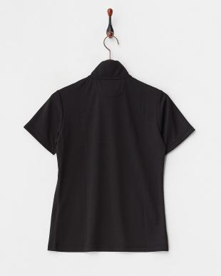 ブラック  吸汗速乾/UVカット/接触冷感 クローバープリントボーダーハーフジップ半袖シャツ見る
