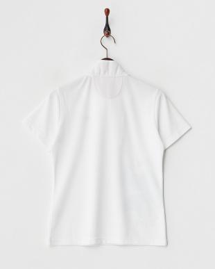 ホワイト  吸汗速乾/UVカット/接触冷感 クローバープリントボーダーハーフジップ半袖シャツ見る