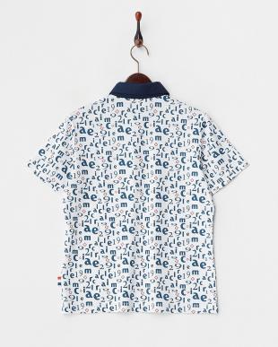 ネイビー  吸汗速乾/UVカット モノグラムプリント半袖シャツ見る