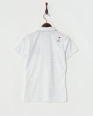 ホワイト  吸汗速乾/UVカット 小ドット柄半袖シャツ見る