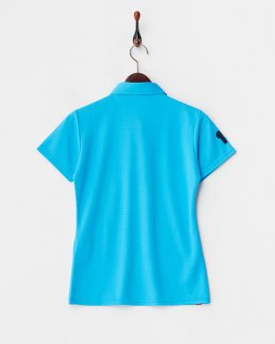 ブルー  UVカット/吸汗速乾/接触冷感 ロゴワッペン半袖シャツ見る