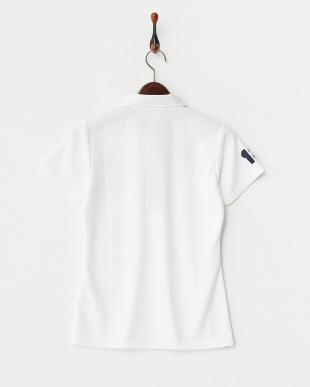 ホワイト  UVカット/吸汗速乾/接触冷感 ロゴワッペン半袖シャツ見る