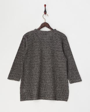 ブラック  撚り杢タック編み プルオーバー見る