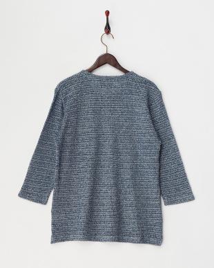 ブルー  撚り杢タック編み プルオーバー見る