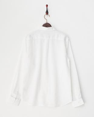 ホワイト  レギュラーカラーリネンシャツ見る