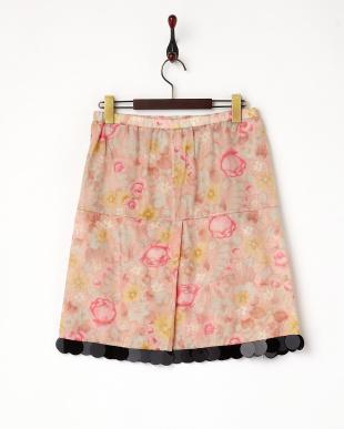 ピンク ぼかしフラワーコットンシルクスカート見る