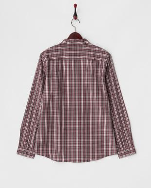 グレー×ワイン タータンチェックシャツ見る