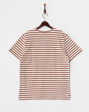 ベージュ×レッド ボーダー胸ポケットTシャツ見る