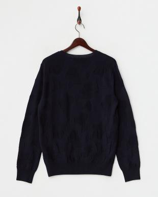 ネイビー 織り柄クルーネックセーター見る