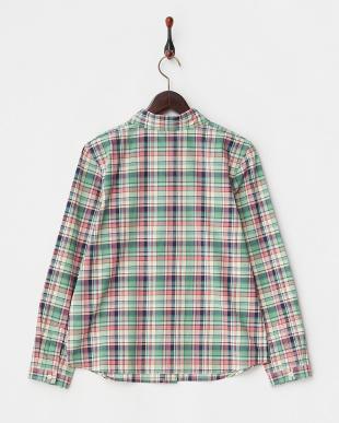 グリーン系 マドラスチェックコットンシャツ見る