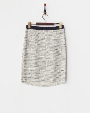 アイボリー  ラメ混ミックスニットツイードタイトスカート見る