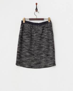 ブラック  ラメ混ミックスニットツイードタイトスカート見る