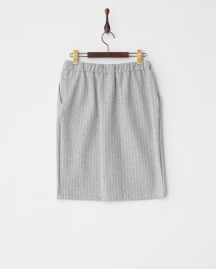 グレー  ストライプドロストタイトスカート見る