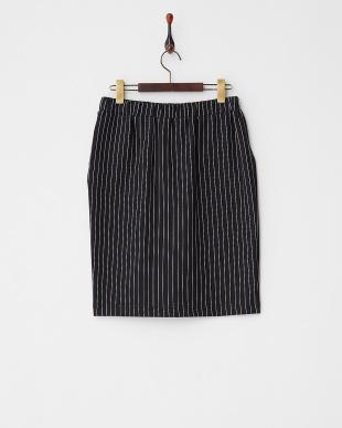 ブラック  ストライプドロストタイトスカート見る