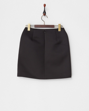 BLACK BONDED SATIN MINI SKIRT見る