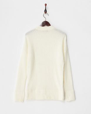 WHITE  MOHAIR OVERSIZED CREW NECK JUMPER見る