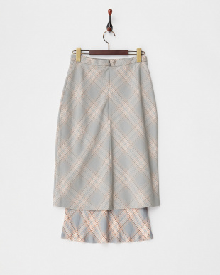 GREY  MESH BONDED CHECK COMBINATION MIDI SKIRT見る