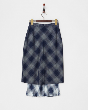 NAVY  MESH BONDED CHECK COMBINATION MIDI SKIRT見る
