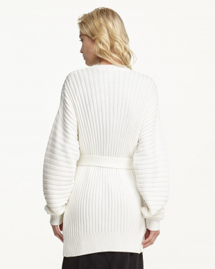 WHITE COTTON RIBBED CARDIGAN見る