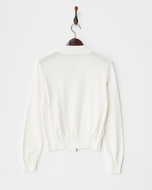 WHITE  KNITTED BOMBER JACKET見る