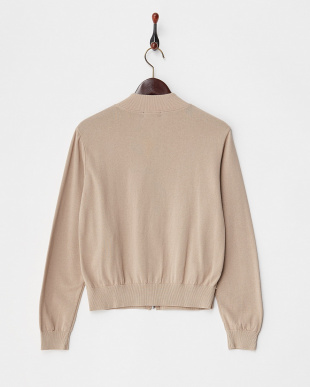 BEIGE  KNITTED BOMBER JACKET見る