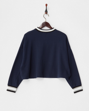 NAVY  STRIPE RIB CROPPED SWEAT SHIRT見る