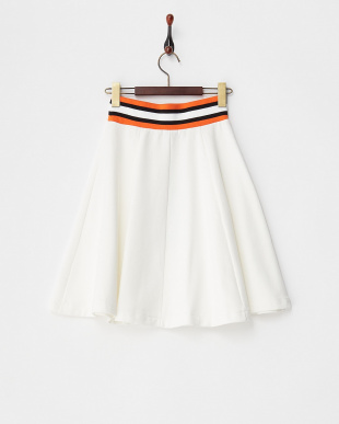 WHITE  STRIPE RIB SWEAT SKATER SKIRT見る