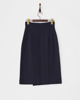 NAVY DOUBLE JERSEY WRAPPED MIDI SKIRT見る