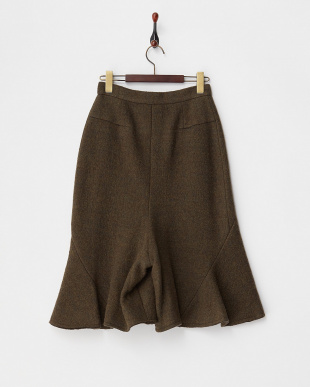 KHAKI  WOOL BOUCLE FLARED SHORTS見る