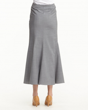 GREY WOOL BLEND ASYMMETRIC MAXI SKIRT見る