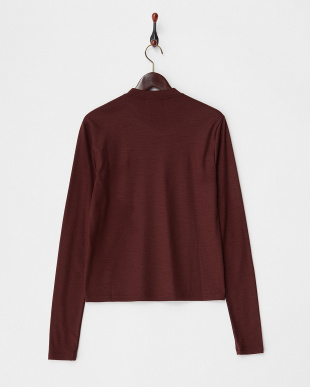 BURGUNDY WOOL JERSEY APPLIQUED LONG SLEEVE TEE見る