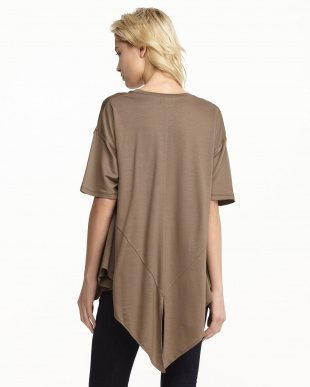 KHAKI FRENCH TERRY DROPPED HEM TEE見る
